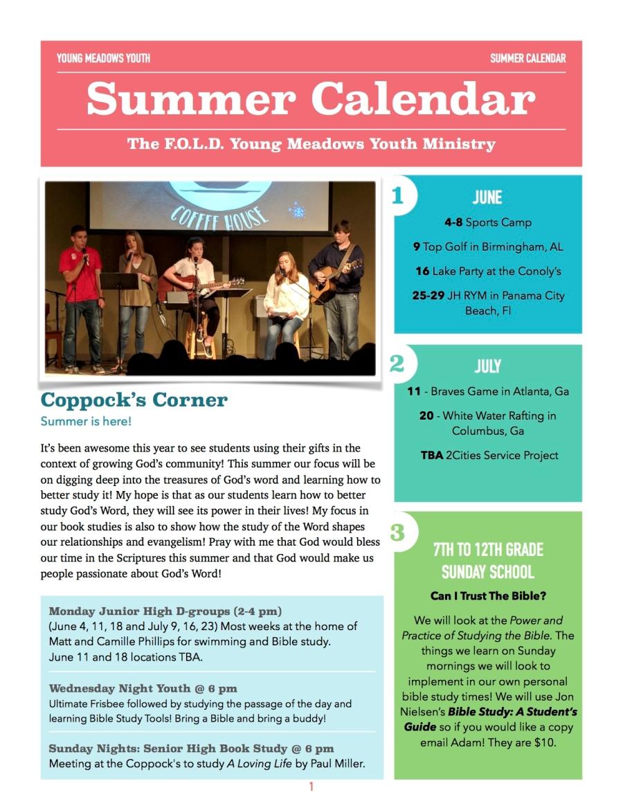 Summer 18 Calendar